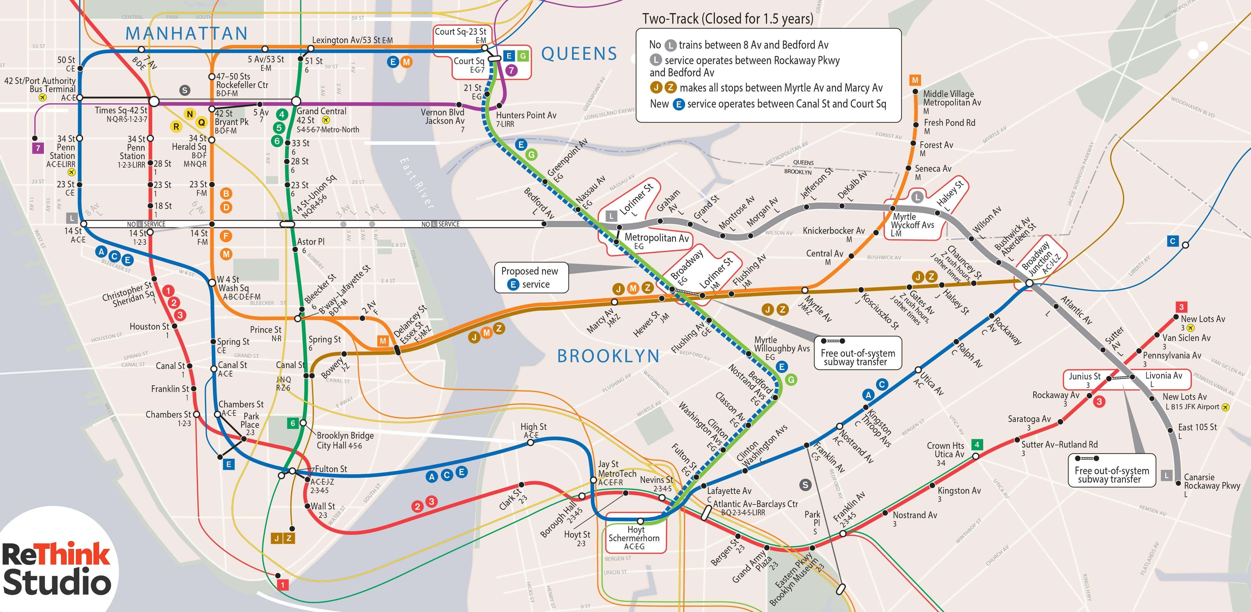 Subway Map E Line.Solving The L Train Crisis Extending The E Line Along The G Line
